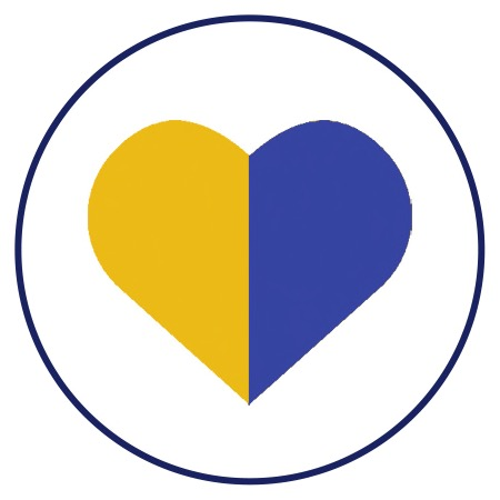 Love icon in yellow and blue
