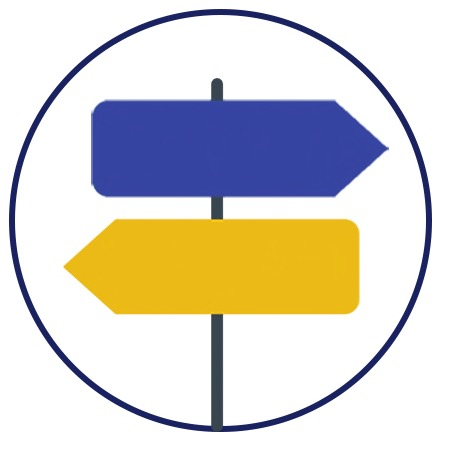 Road marker icon in yellow and blue